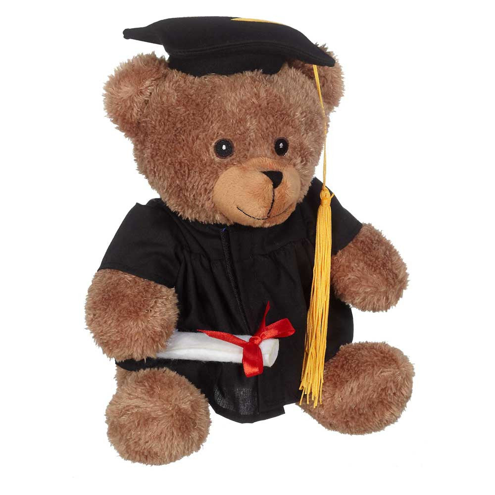 "Bucky Grad Bear, Brown 9"" sit. - 14082B"