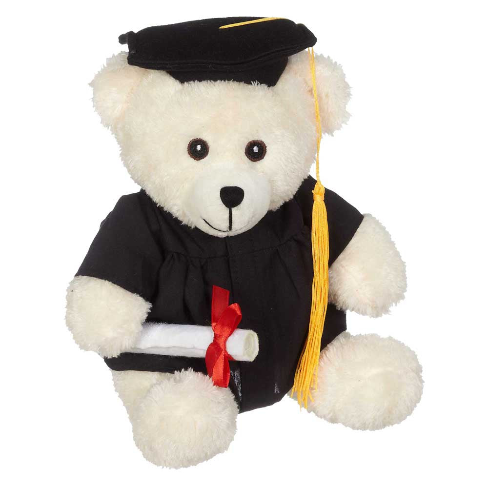 "Bucky Grad Bear, Cream 9"" sit. - 14082C"