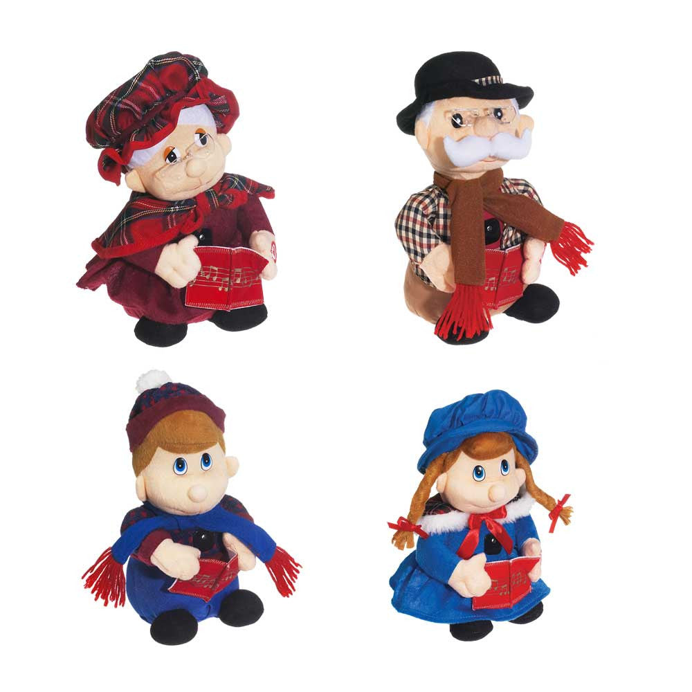 "Singing Carolers ""We wish you a Merry Christmas"" 4 pc"