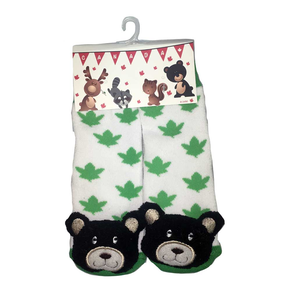 Black Bear Green Leaf Socks - 27002