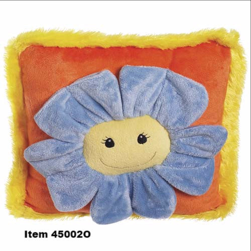 "Flower Pillow 12"" x 12"" Orange w/ Blue Petals 45002"