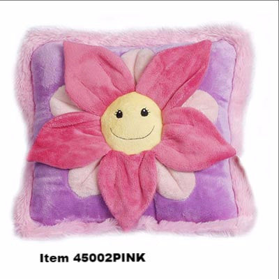 "Flower Pillow 12""x12"" Purple with Pink Petals"