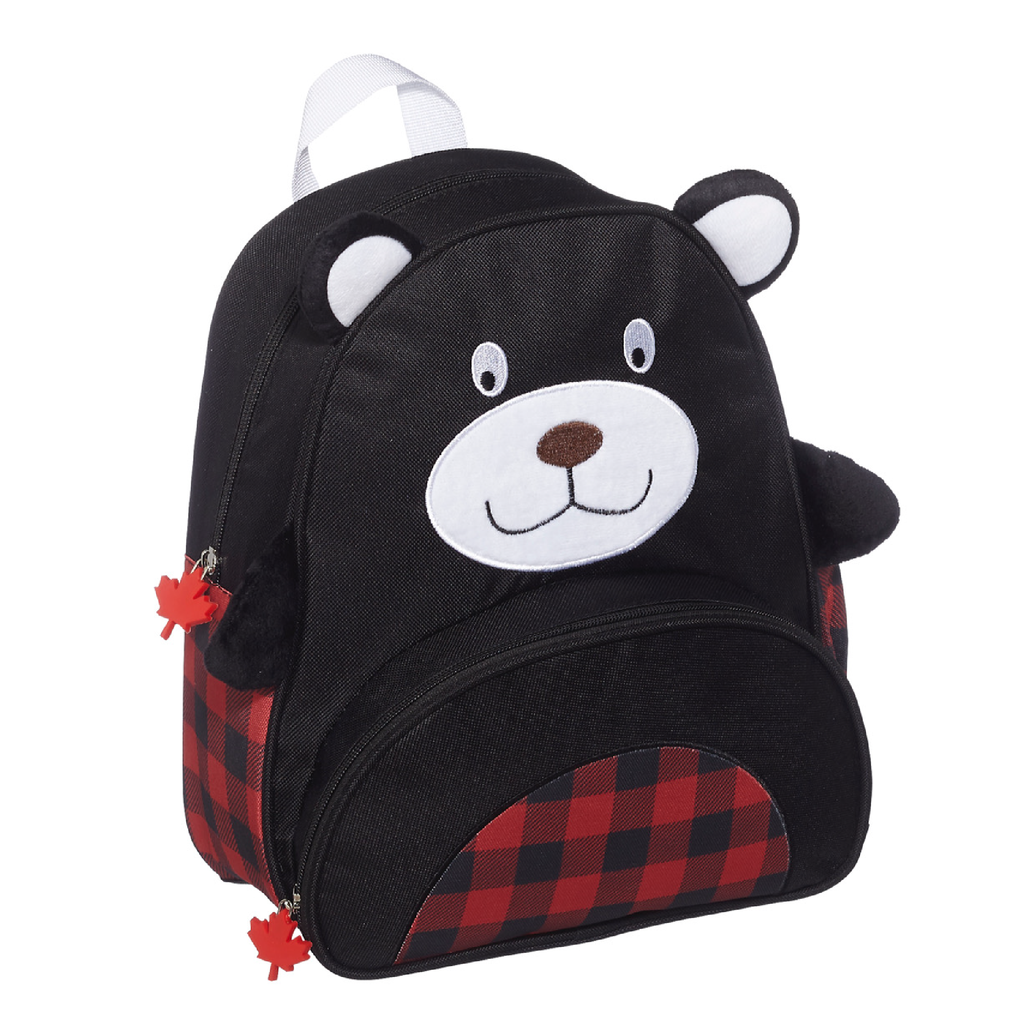 Black Bear Plaid Backpack 12.5""