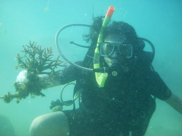 Rachel Grant scuba diving for giant clam conservation