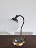 Brass and opaline glass Art Deco table lamp, Scandinavia 1930s