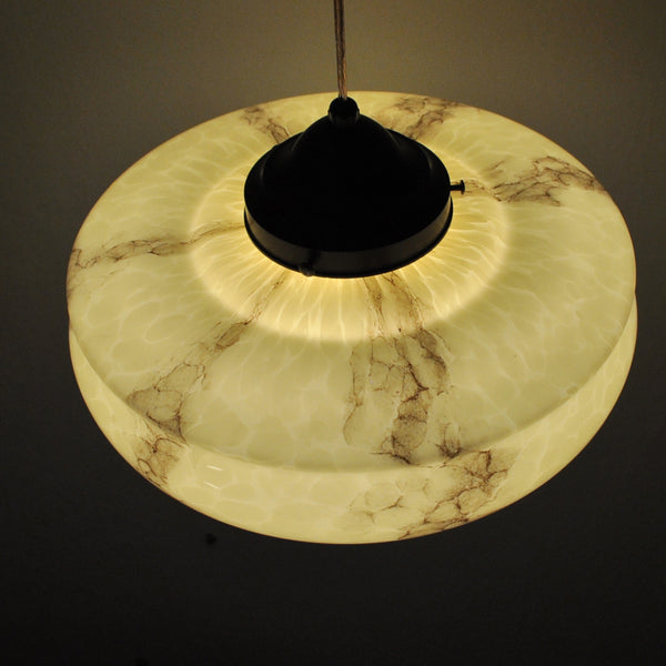 Antique Marbled Art Deco Pendant Light, 1930s
