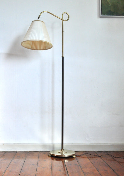 Art deco floor lamp in brass and browned brass with original shade