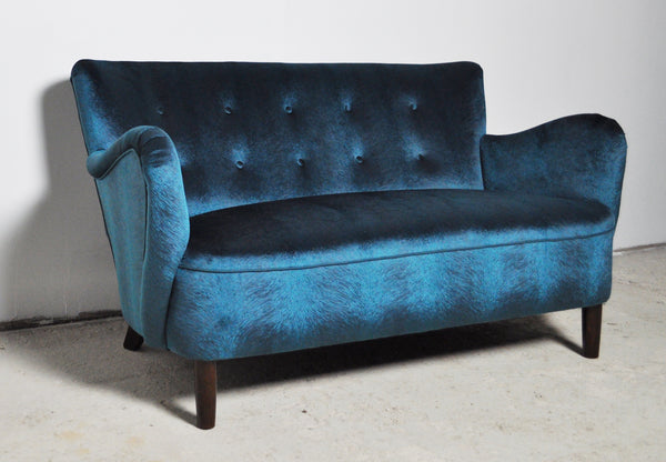 Elegant early midcentury curved sofa in blue velvet new upholstery