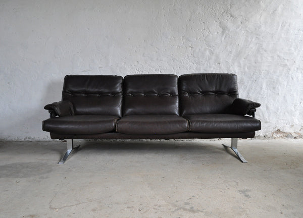 Dark brown leather and chrome 3 seater sofa by Arne Norell