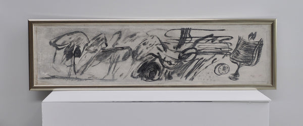 Carl-Henning Pedersen, oil painting in black and grey tones. Signed Chp.
