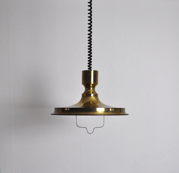 Patinated Danish Brass Pendant, 1970s