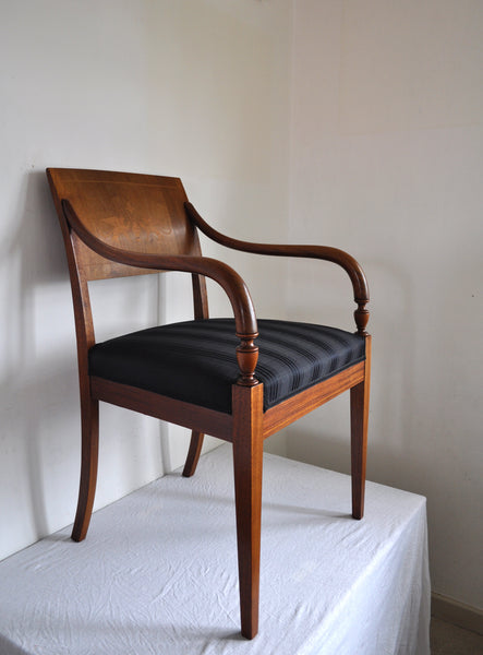 Elegant classic Danish Empire Armchair in mahogany with inlays