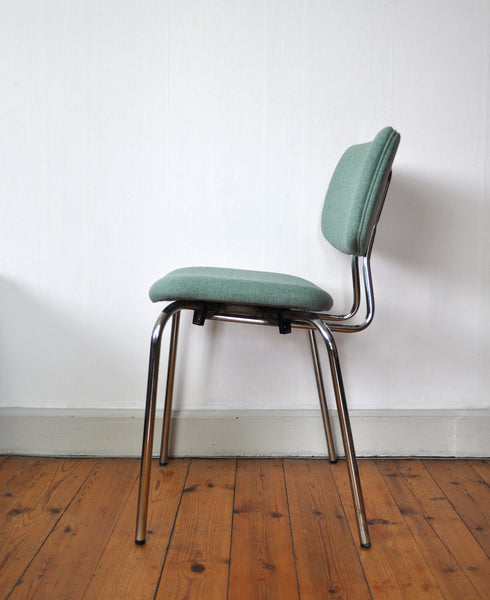 Danish side chair by Duba, chromed frame and new Upholstery