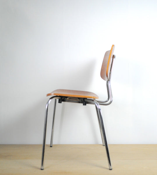 Danish dining chair by Duba, Teak and chromed steel