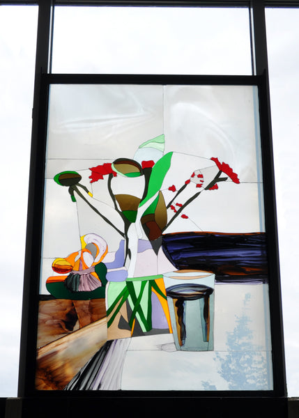 Stained Glass Painting, Arrangement of Flower Vase by Danish Erik A. Frandsen