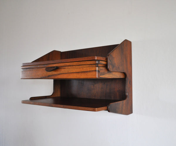Danish Modern Wall Mounted Storage in teak and rosewood