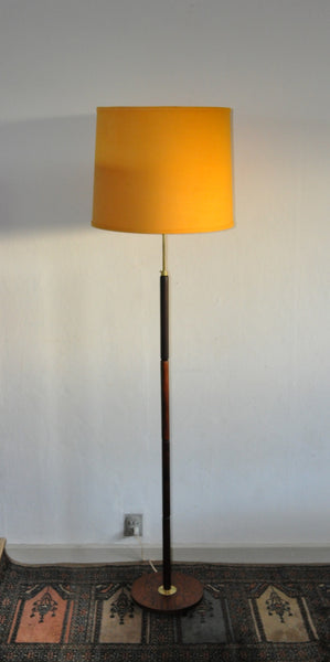 Danish Modern Rosewood Floor Lamp With Brass Details From