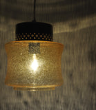 Danish vintage brass and glass pendant