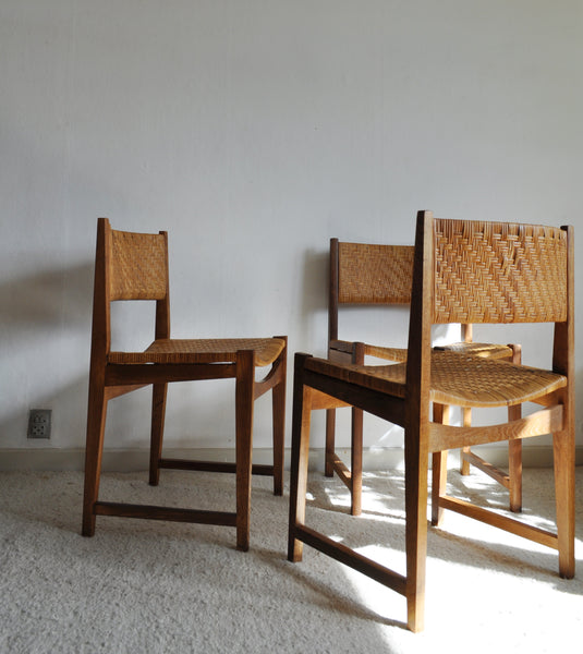 Oak and Cane Dining Chairs model 351 designed by Peter Hvidt & Orla Mølgaard-Nielsen, Set of 3