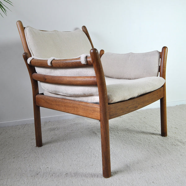 Rare Illum Wikkelsø Lounge Chair Model Genius in Oak by CFC Silkeborg, Denmark