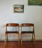Danish dining chairs, set of 2. Teak & beech. Danish modern furniture