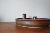 Danish candle holder made of stoneware with a harefur glaze