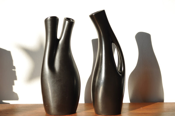 Swedish black glazed ceramic vases by Lillemor Mannerheim, set of 2