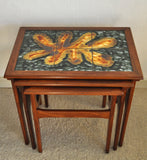 Danish teak nesting tables with ceramic tiles