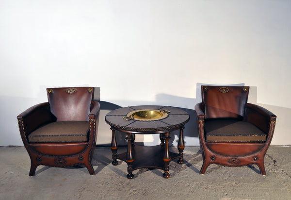 Otto Schulz lounge chairs and table with original leather, Sweden 1930s