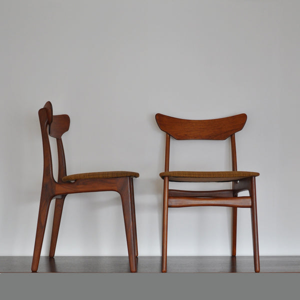 Danish modern teak dining chairs by Schiønning & Elgaard, set of 2