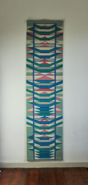 Scandinavian handwoven tapestry - pink, blue and turquoise colors