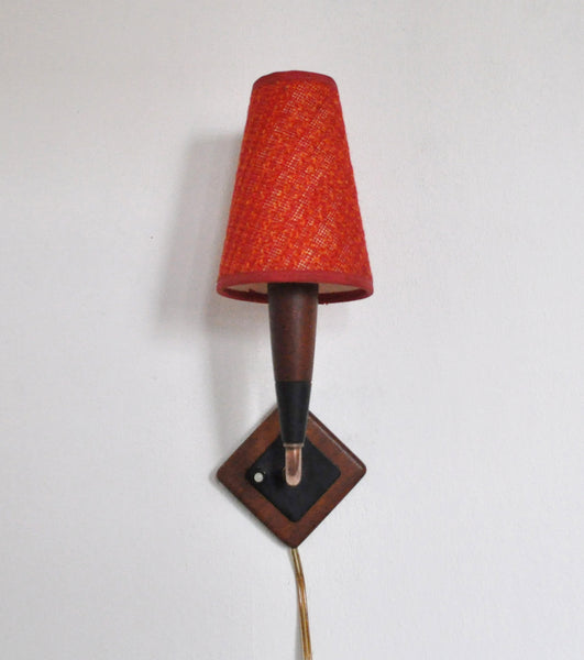 Mid-Century Modern Danish teak and copper wall sconce, 1950s