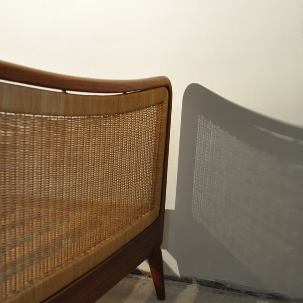 Mid Century teak bed with woven cane bed ends