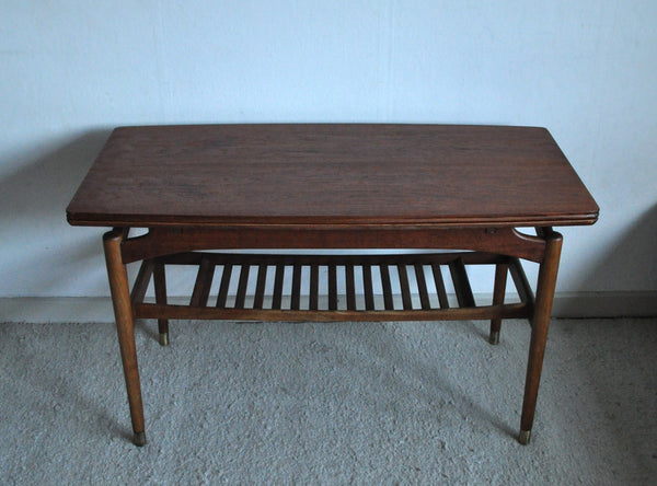 Expandable danish modern teak coffee or side table with shelf and brass shoes