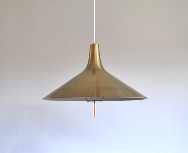Danish Midcentury Modern Chandelier in brass, 1950s in the style of Paavo Tynell