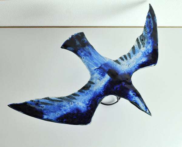 Glass bird by Tróndur Patursson in blue colors