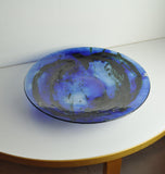 Glass dish by Tróndur Patursson, Whale in blue colors