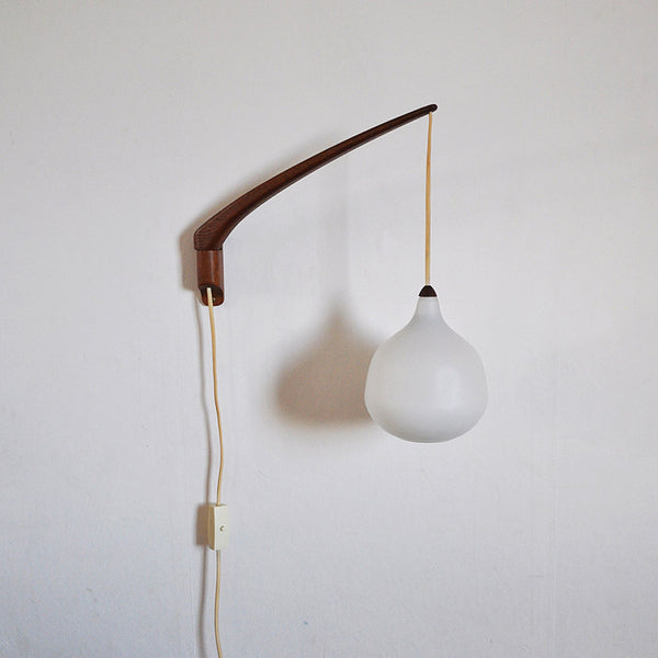 Scandinavian teak and glass wall lamp design by Uno & Östen Kristiansson