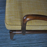 Ole Wanscher sofa beautiful curved varnished beech and wool upholstery