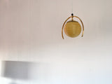 Art Deco brass and milk glass pendant