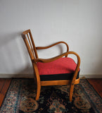 Danish cabinetmaker armchair, reupholstered and renovated