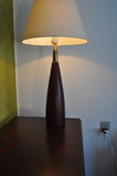 Danish turned teak table lamp