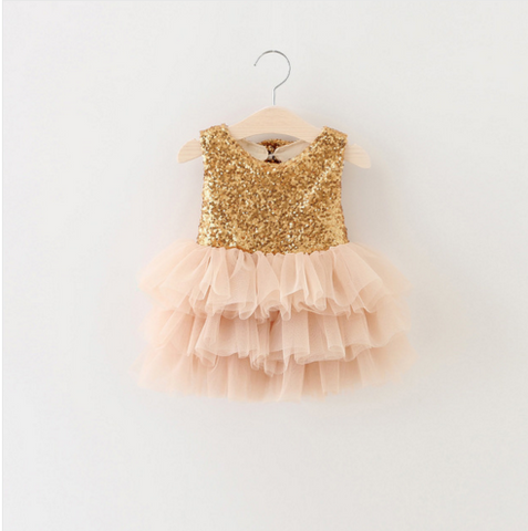 """BRONYWN"" Pink Tulle and Gold Sparkles Dress"