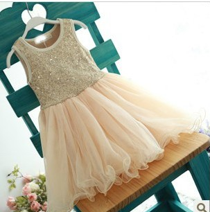 "Cream  Tulle and Sequin ""CHARLOTTE"" Dress"
