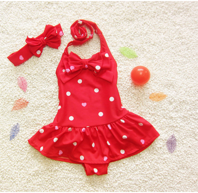 """BENTLEY"" Red  Hearts and Polka Dots Swimsuit with Headband"