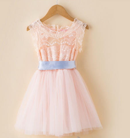 "Pink Lace ""MAREN"" Dress with Sash"