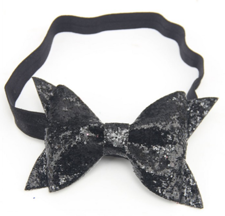 "'MARLEE"" Black Glitter Bow Headband"