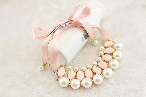 """LUNA"" Pink Pearl Statement Necklace"