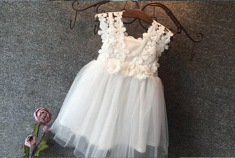 "White Tulle and Flower ""ADDISON"" Dress"