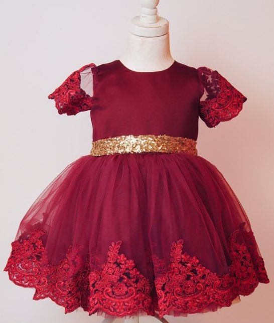 "Red Lace with Gold Sash ""MARIAH"" Dress"